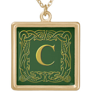 """Jewelry - Necklace - Celtic Dragon-Framed """"C"""""""