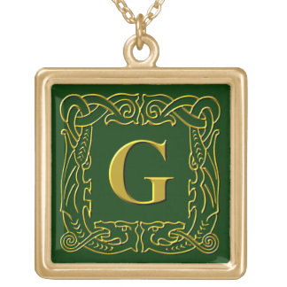 """Jewelry - Necklace - Celtic Dragon-Framed """"G"""""""