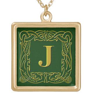 "Jewelry - Necklace - Celtic Dragon-Framed ""J"""