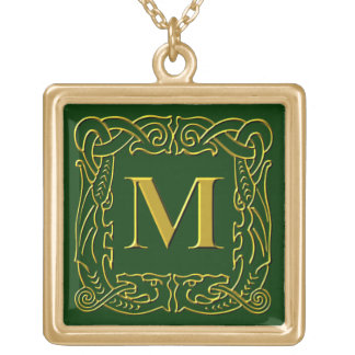 """Jewelry - Necklace - Celtic Dragon-Framed """"M"""""""