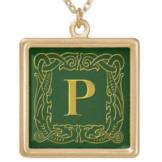 """Jewelry - Necklace - Celtic Dragon-Framed """"P"""""""