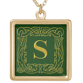 """Jewelry - Necklace - Celtic Dragon-Framed """"S"""""""