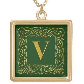 "Jewelry - Necklace - Celtic Dragon-Framed ""V"""