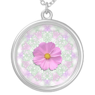 Jewelry - Necklace - Med.Pink Cosmos on Lace & Lat