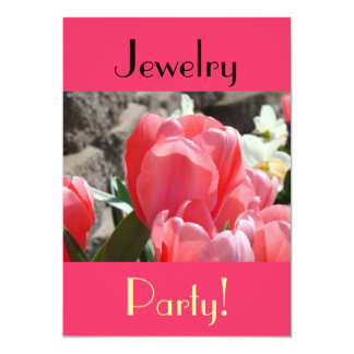 Jewelry Party! invitations Hot Pink Spring Tulips
