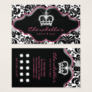 Jewelry Princess Crown Floral Damask Loyalty Card. Business Card