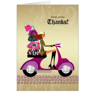 Jewelry Purses Thank You Card Scooter Girl Pink