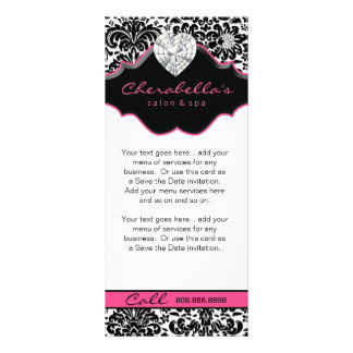 Jewelry Rack Card Damask White Black Pink Floral