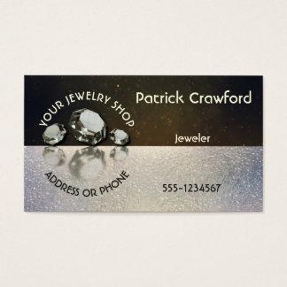 Jewelry Shop Jeweler Three Diamonds On Gold Dust Business Card