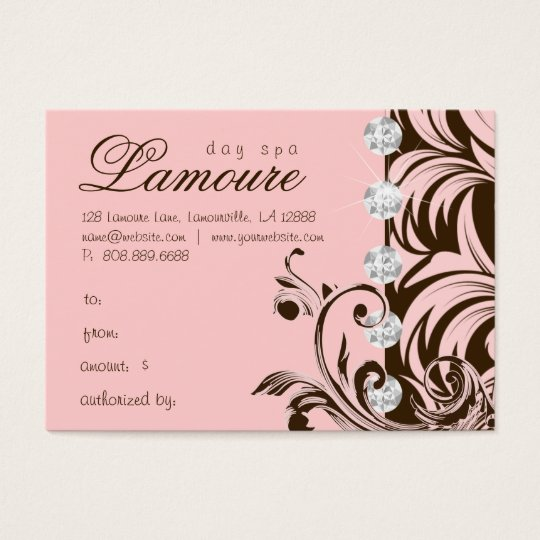 Jewelry Spa Gift Card Diamonds Pink Brown
