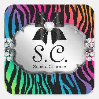 Jewelry Sticker Zebra Rainbow Salon Initial