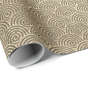 Beach Themed Jewelry Waves Art Deco Sepia Gold Circles Infinity Wrapping Paper