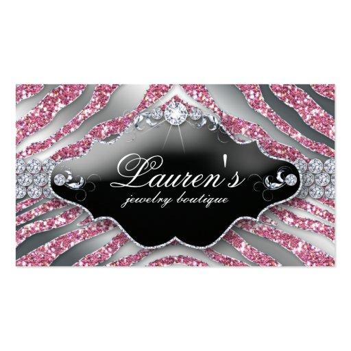 Jewelry Zebra Business Card Sparkle Pink SB