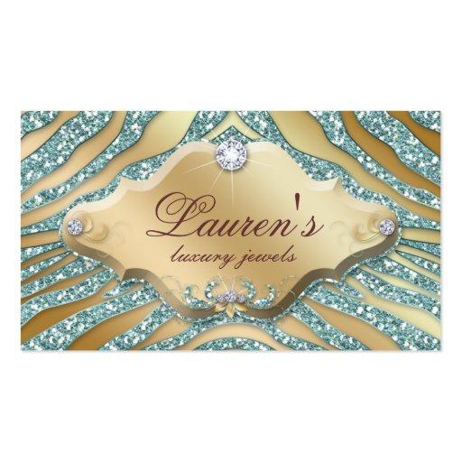 Jewelry Zebra Business Card Sparkle Teal Gold