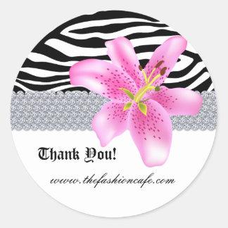 Jewelry Zebra Sticker Lily Flower Thank You
