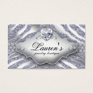 Jewelry Zebra Valentine's Heart Sparkle Silver Business Card