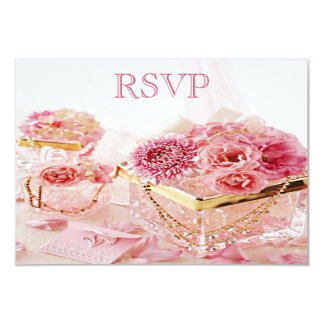 Jewels, Boxes & Pink Flowers RSVP Card