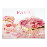 Jewels, Boxes & Pink Flowers RSVP Personalized Announcement