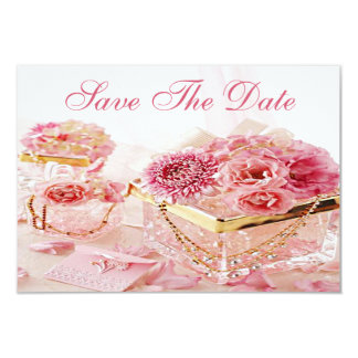 "Jewels, Boxes & Pink Flowers Wedding Save the Date 3.5"" X 5"" Invitation Card"