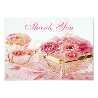 "Jewels, Boxes & Pink Flowers Wedding Thank You 3.5"" X 5"" Invitation Card"