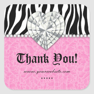 Jewels leopard Pearl Lace Heart Pink Thank You Sq Square Sticker