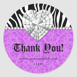 Jewels leopard Pearl Lace Heart Purple Thank You Classic Round Sticker