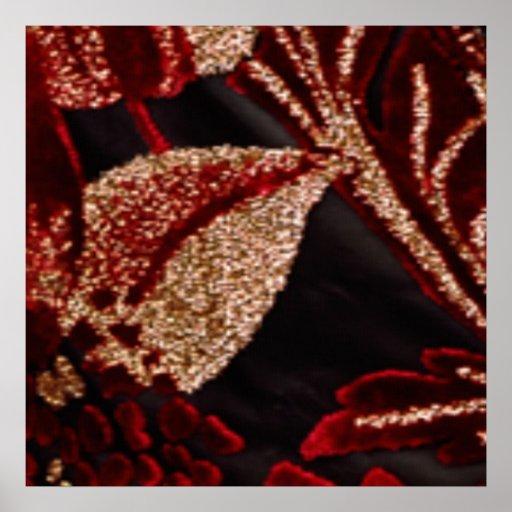 Jewels on Golden Leaf - Platinum Gloss Canvas UV Poster
