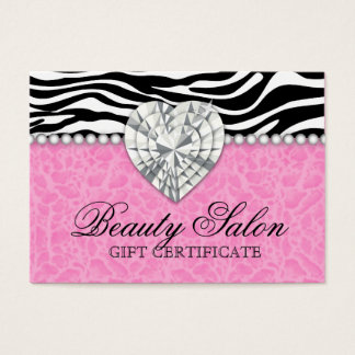 Jewels Pearls Zebra leopard Lace Pink Gift Card