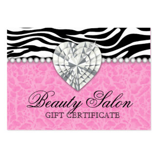 Jewels Pearls Zebra leopard Lace Pink Gift Card Large Business Cards (Pack Of 100)