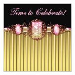 Jewels Pink Black Gold Birthday Party Custom Invitations