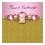 Jewels Pink Gold Birthday Party Personalized Invite