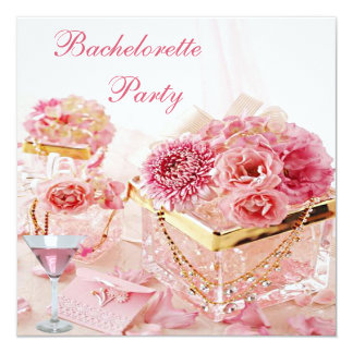 "Jewels, Pink Martini & Flowers Bachelorette Party 5.25"" Square Invitation Card"