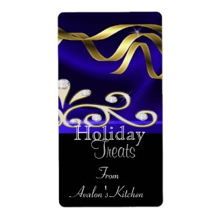 Jewels & Ribbon Blue Holiday Baking Label