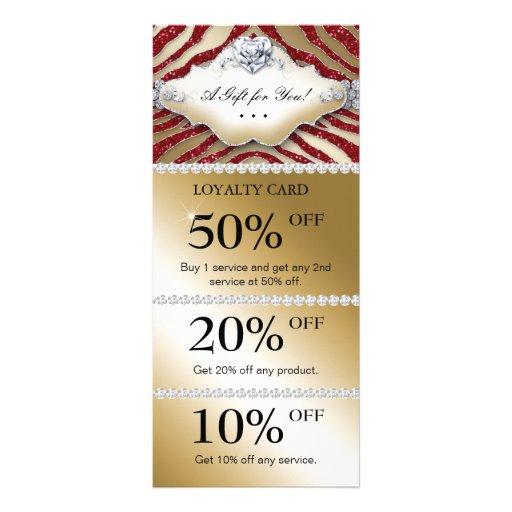 Jewels Spa Marketing Cards Zebra Gold Red Heart Rack Card