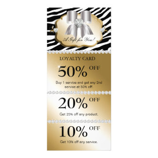 Jewels Spa Marketing Cards Zebra Gold Silver Full Color Rack Card