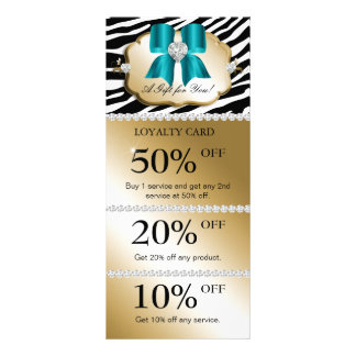 Jewels Spa Marketing Cards Zebra Gold Turquoise Rack Cards