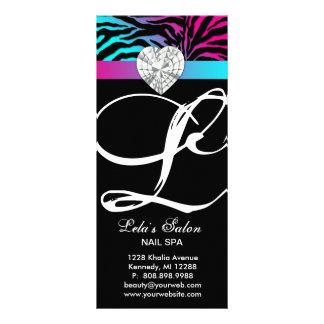 Jewels Zebra Animal Print Beauty Salon Pink Blue Rack Card