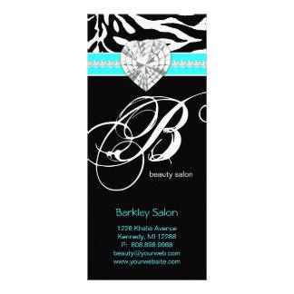 Jewels Zebra Beauty Salon Spa Blue Rack Card