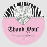 Jewels Zebra Pearl Lace Heart Pink Thank You Stickers