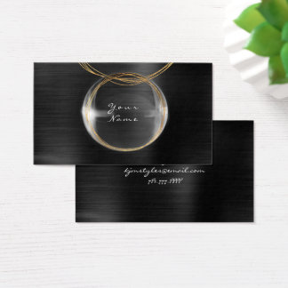 Jewely Stylist Gold Glass Ball Black Metallic Business Card