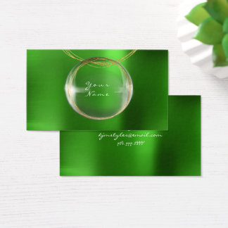 Jewely Stylist Gold Glass Ball Emerald Green Metal Business Card