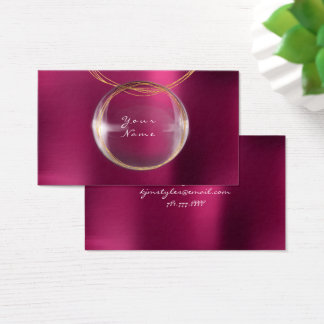 Jewely Stylist Gold Glass Ball Purple Pink Metal Business Card