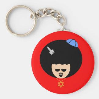 Jewfro Basic Round Button Keychain