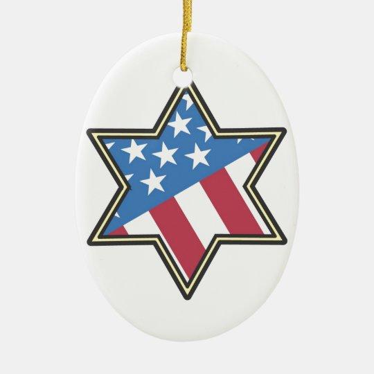 Jewish American Gifts for Hanukkah Ceramic Ornament