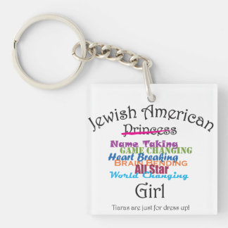 Jewish American Girl Double-Sided Square Acrylic Keychain