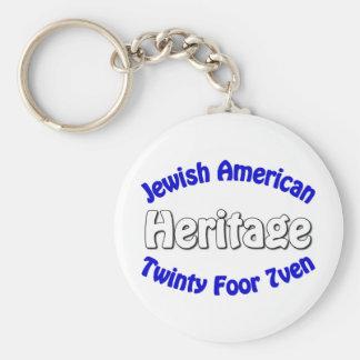 Jewish American Heritage Basic Round Button Keychain