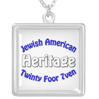 Jewish American Heritage Square Pendant Necklace