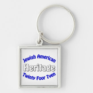 Jewish American Heritage Silver-Colored Square Keychain
