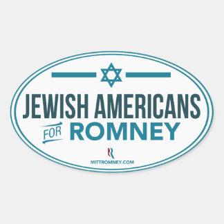 Jewish Americans For Mitt Romney 2012 Oval Sticker