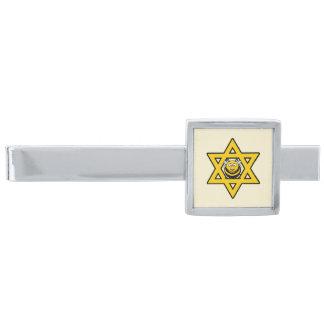 Jewish Bee Star of David Silver Finish Tie Clip